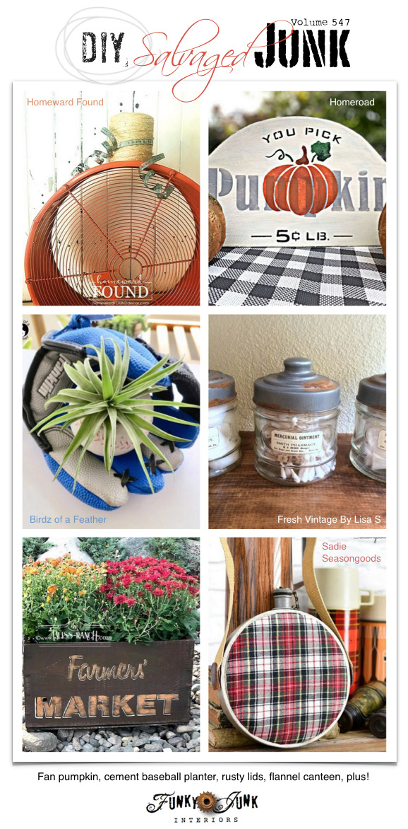 Visit 20+ NEW DIY Salvaged Junk Projects 547 - Fan pumpkin, cement baseball planter, rusty lids, flannel canteen, plus! Up-cycled projects and link party on Funky Junk. Click to each tutorial!