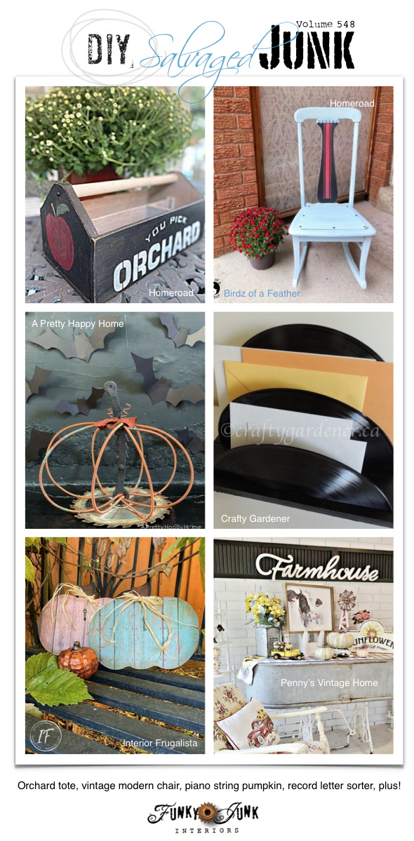 Visit 20+ NEW DIY Salvaged Junk Projects 548 - Orchard tote, vintage modern chair, piano string pumpkin, record letter sorter, plus! Up-cycled projects with a link party leading to full tutorials! Click to view them all!
