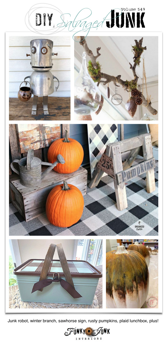 Visit 20+ NEW DIY Salvaged Junk Projects 549 - Junk robot, winter branch, sawhorse sign, rusty pumpkins, plaid lunchbox, plus! Click to learn how through full tutorials!
