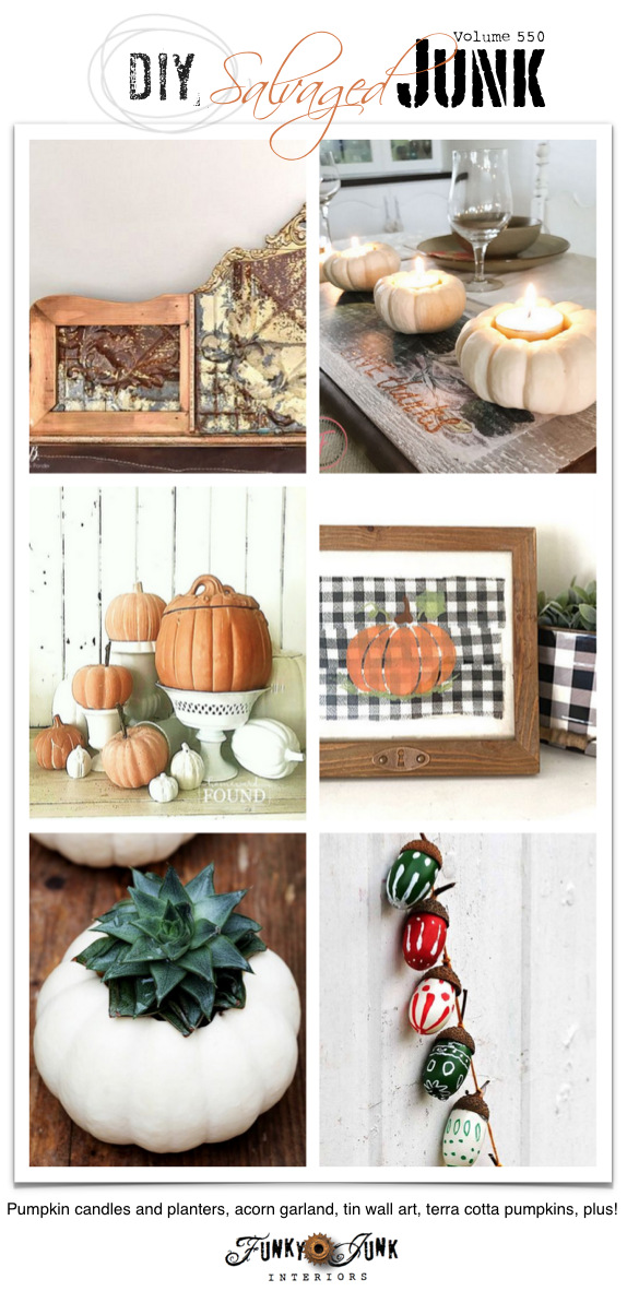 Visit 20+ NEW DIY Salvaged Junk Projects 550 - Pumpkin candles and planters, acorn garland, tin wall art, terra cotta pumpkins, plus! Up-cycled projects to make with a link party! Join in!