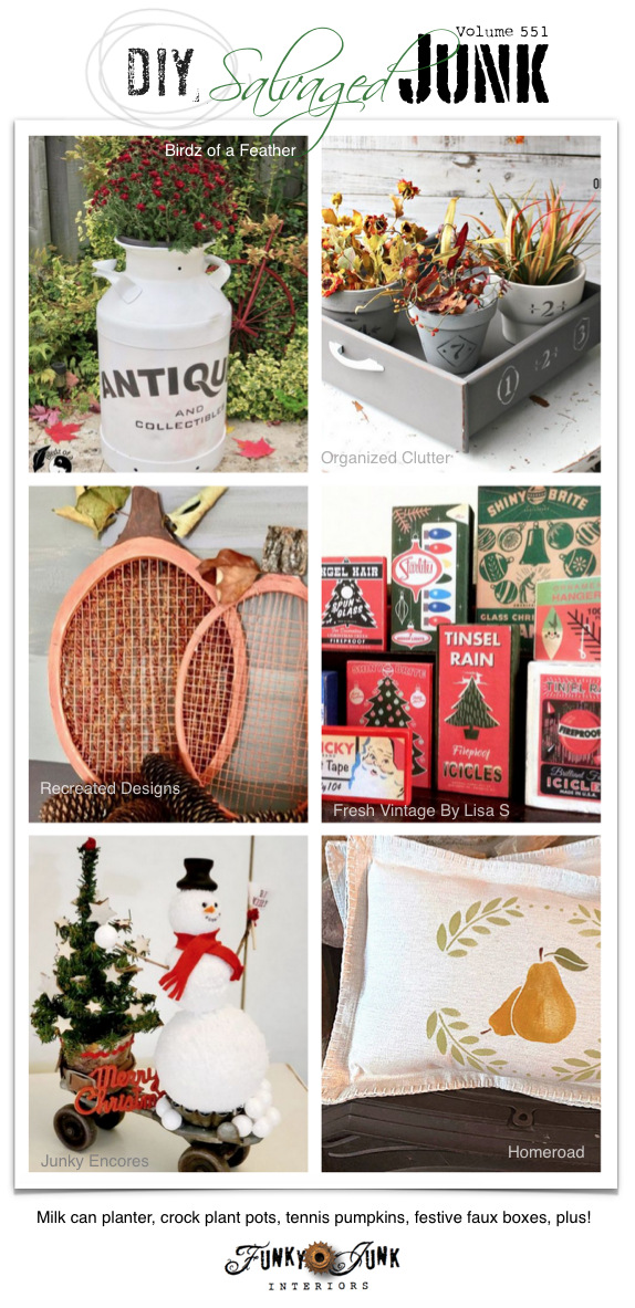 Visit 20+ NEW DIY Salvaged Junk Projects 551 - Milk can planter, crock plant pots, tennis pumpkins, festive faux boxes, plus! Up-cycled projects with link party. Click to join in!