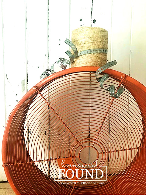 Fan cover fall pumpkin by Homeward Found, featured on DIY Salvaged Junk Projects 547 on Funky Junk!
