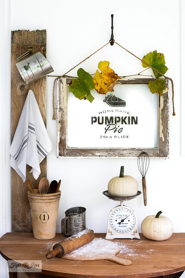 Learn how easy it is to stencil on glass, with this charming Homemade Pumpkin Pie old window sign perfect for fall or Thanksgiving decorating! Featuring Funky Junk's Old Sign Stencils. Click to full tutorial including helpful step-by-step video with tips on removing paint from glass included!