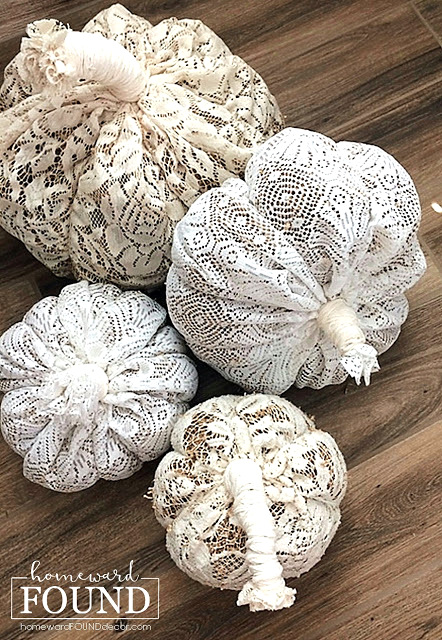 Boho lace pumpkins by Homeward Found, featured on DIY Salvaged Junk Projects 549 on Funky Junk!