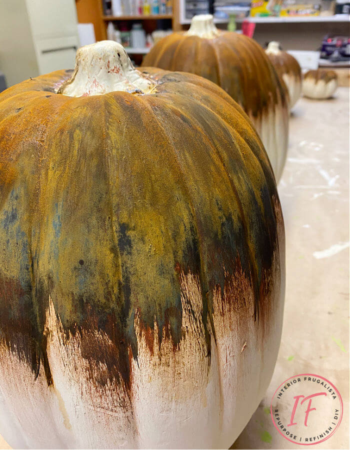 Rusty pumpkins by Interior Frugalista, featured on DIY Salvaged Junk Projects 549 on Funky Junk!