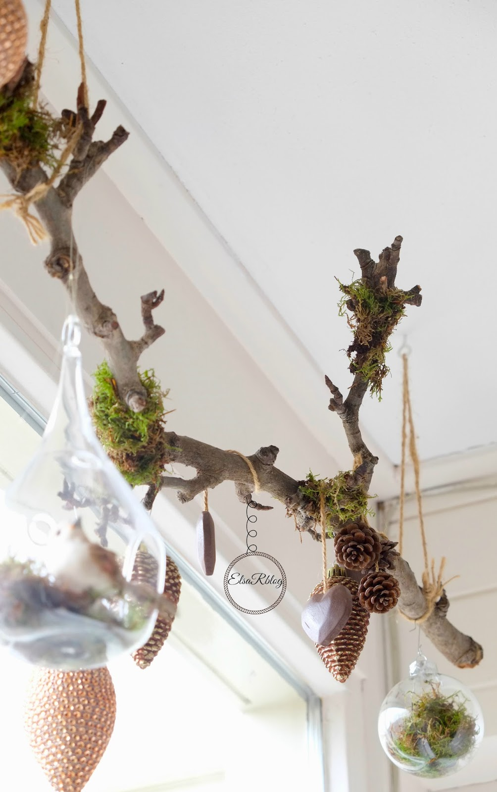 Winter branch decorating by Elsa R Blog, featured on DIY Salvaged Junk Projects 549 on Funky Junk!