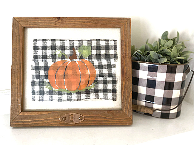 Stenciled plaid fall pumpkin picture by Homeroad, featured on DIY Salvaged Junk Projects 550 on Funky Junk!