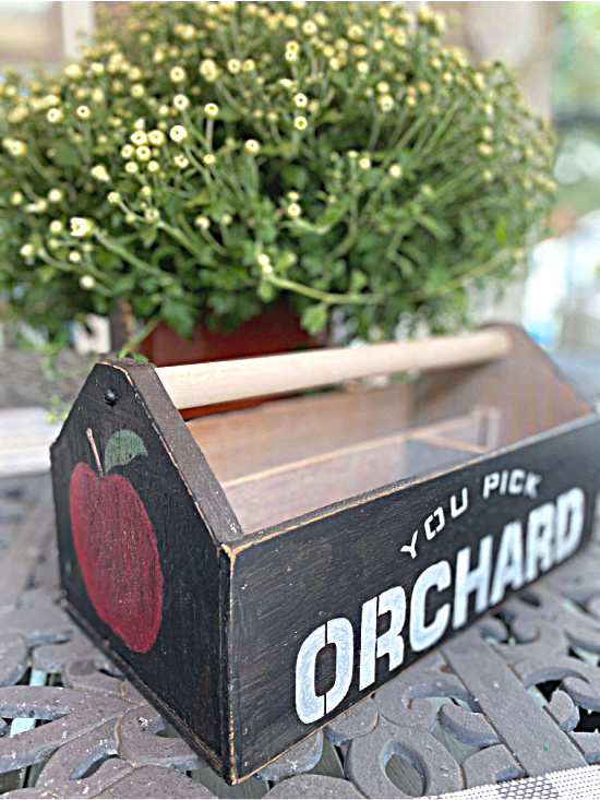 Fall orchard toolbox by Homeroad, featured on DIY Salvaged Junk Projects 548 on Funky Junk!