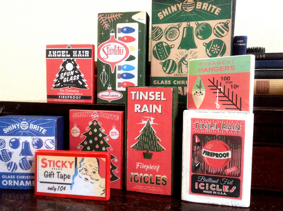 Faux Christmas retro wood block boxes by Fresh Vintage By Lisa S, featured on DIY Salvaged Junk Projects 551 on Funky Junk!