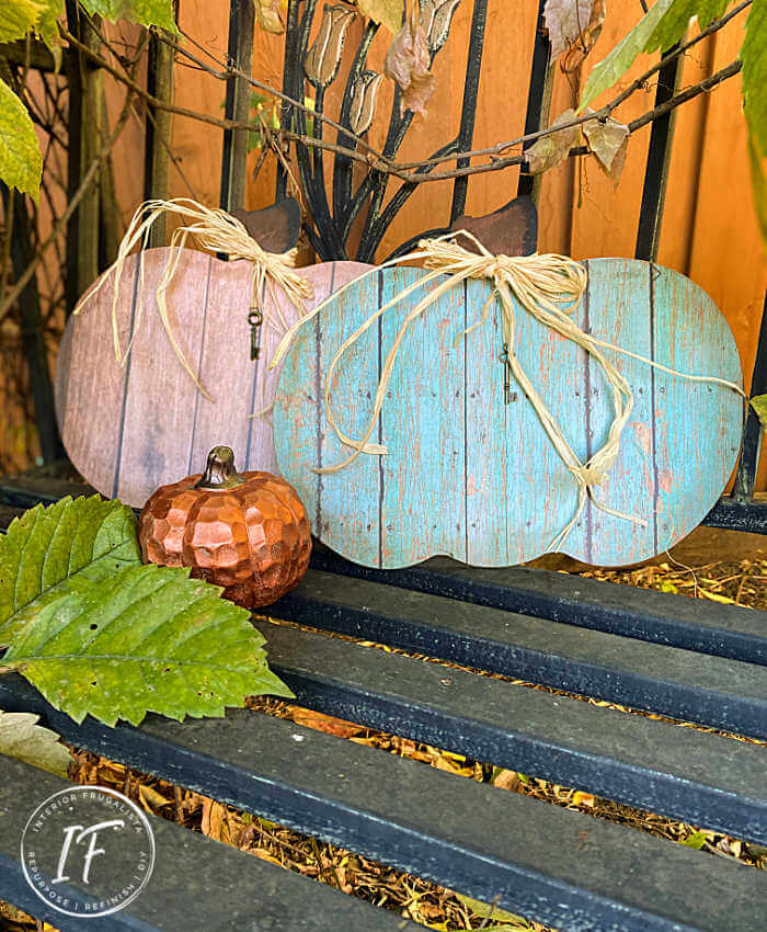Faux reclaimed wood pumpkins by Interior Frugalista, featured on DIY Salvaged Junk Projects 548 on Funky Junk!