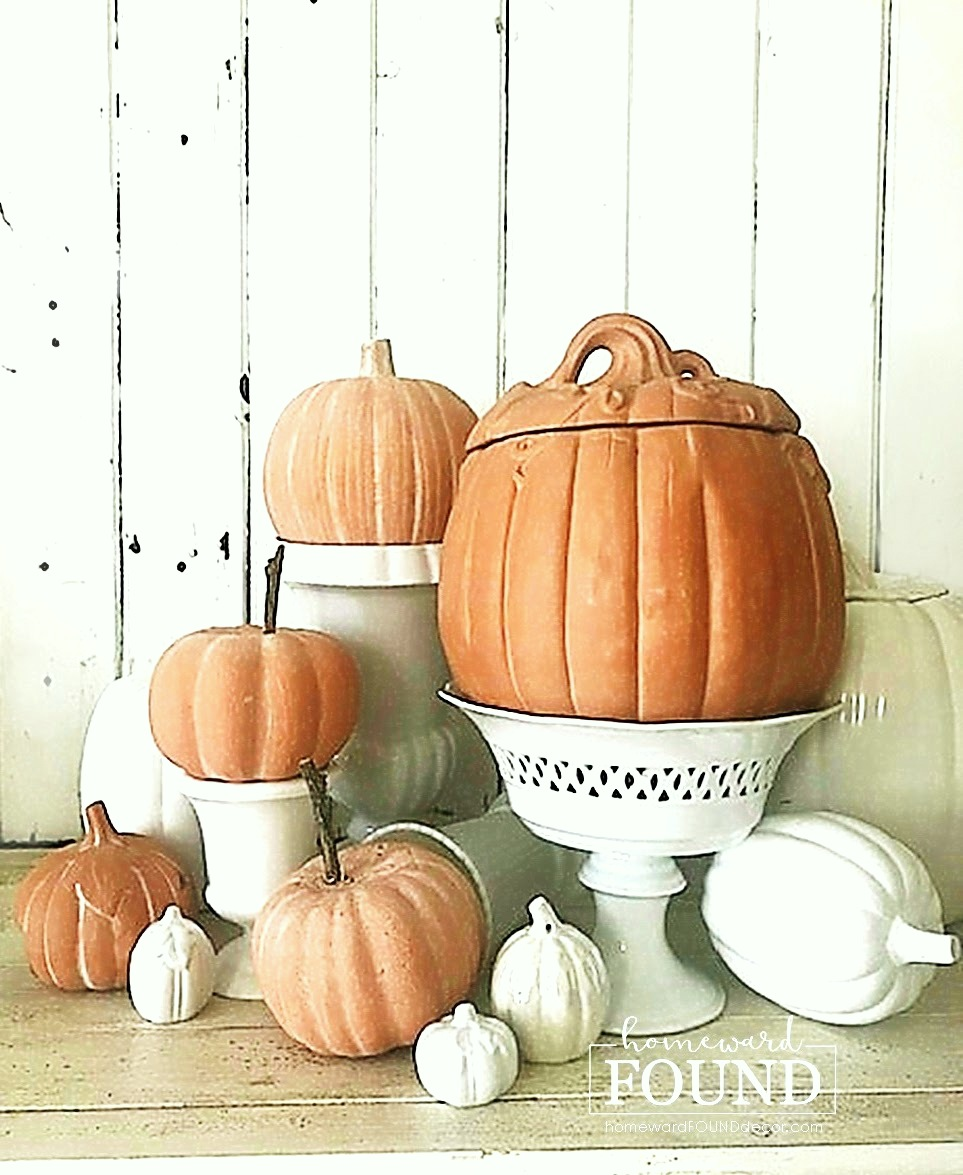Terra cotta pumpkin makeover by Homeward Found, featured on DIY Salvaged Junk Projects 550 on Funky Junk!