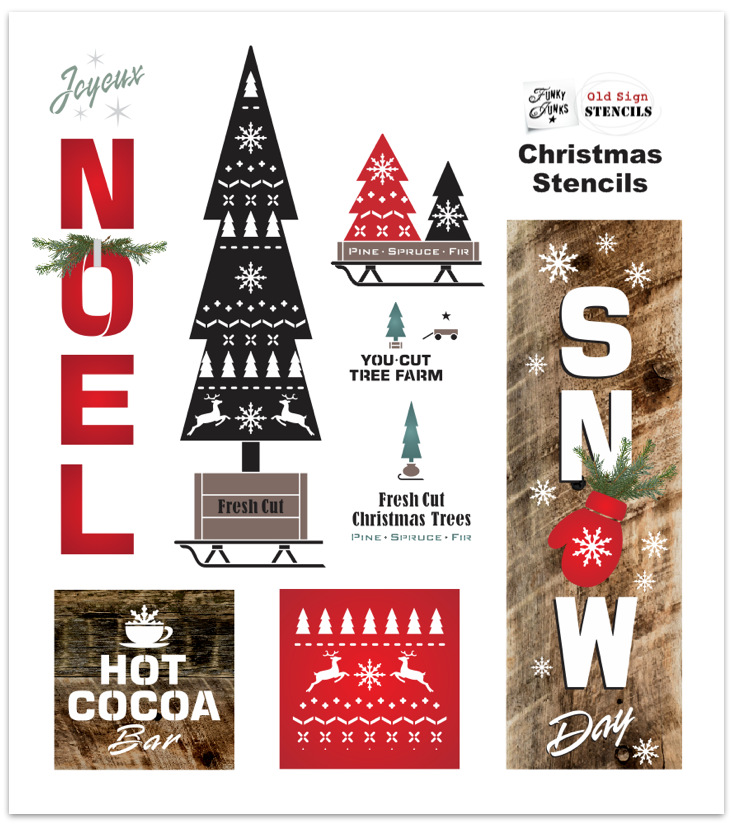 View new Christmas stencils for wooden signs by Funky Junk's Old Sign Stencils - click to view them all and see ideas on what to make for Christmas decorating!