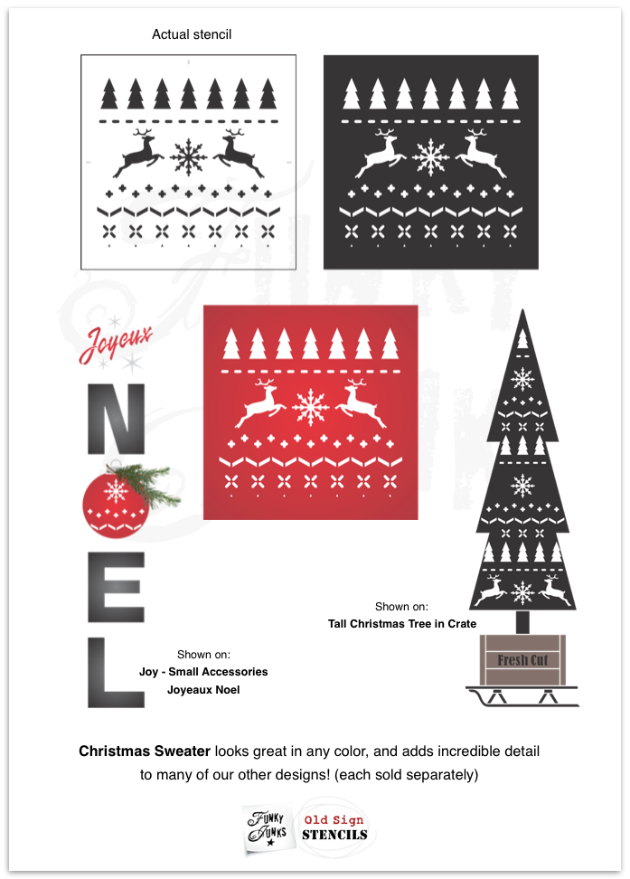 Create this festive Christmas Sweater pattern on anything desired with this stencil! Perfect for Christmas decorating ideas! Funky Junk's Old Sign Stencils.