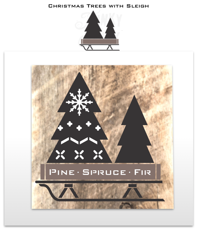 View Christmas Trees with Sleigh Christmas stencil by Funky Junk's Old Sign Stencils for making Christmas decorating signs with wood!