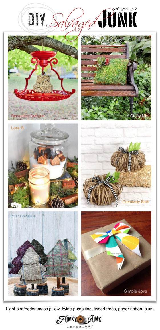 Visit 20+ NEW DIY Salvaged Junk Projects 552 - Light bird feeder, moss pillow, twine pumpkins, tweed trees, paper ribbon, plus! Learn how to make these up-cycled projects and more on Funky Junk!