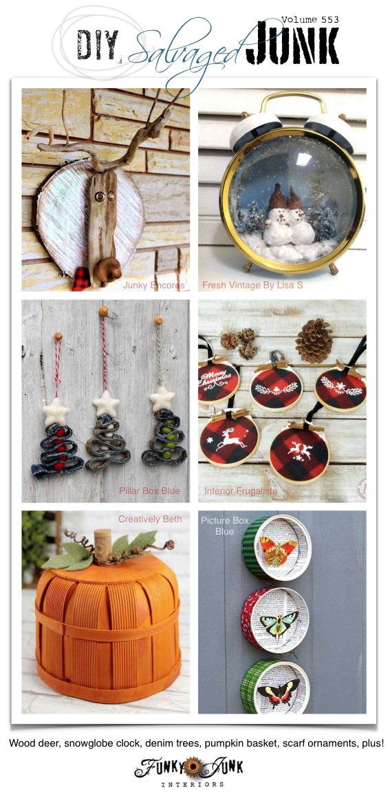 Visit 20+ NEW DIY Salvaged Junk Projects 553 - Wood deer, snowglobe clock, denim trees, pumpkin basket, scarf ornaments, plus! Click to visit up-cycled projects with full tutorials!