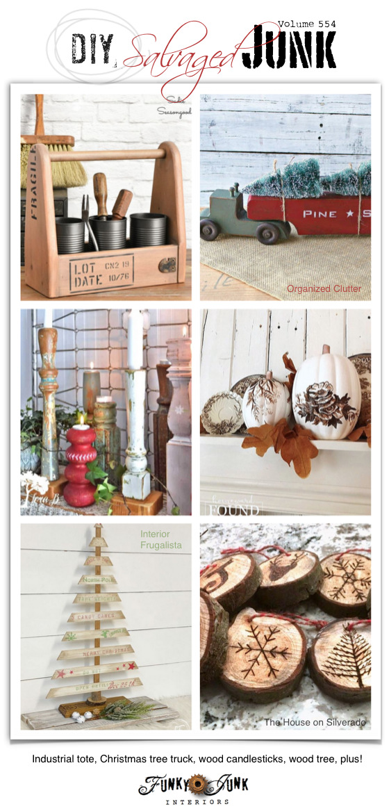 Visit 20+ NEW DIY Salvaged Junk Projects 544 - Industrial tote, Christmas tree truck, wood candlesticks, wood tree, plus! Up-cycled projects with link party. Join in!