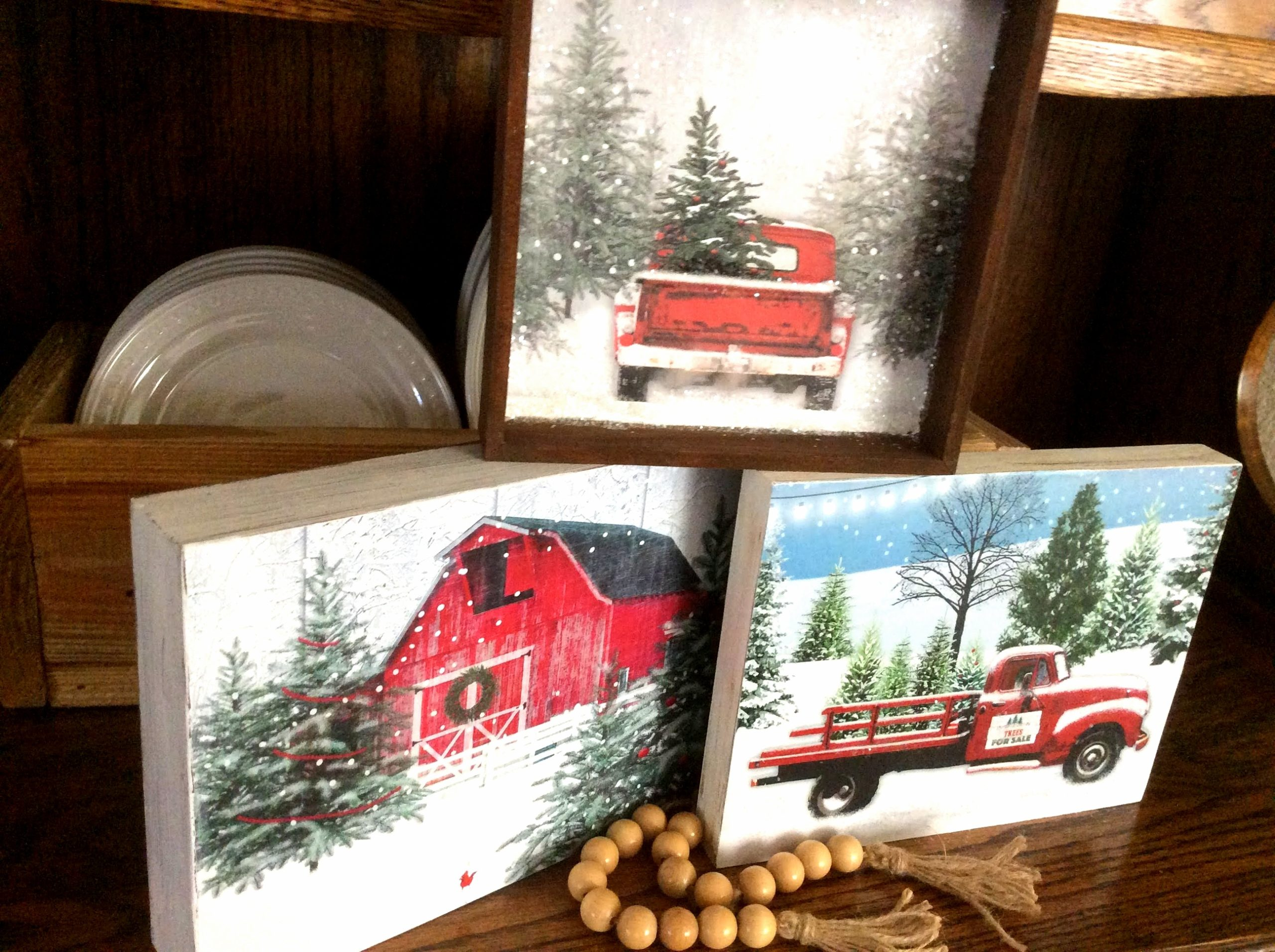 Gift bag Christmas farm art by Fresh Vintage by Lisa S, featured on DIY Salvaged Junk Projects 555 on Funky Junk!