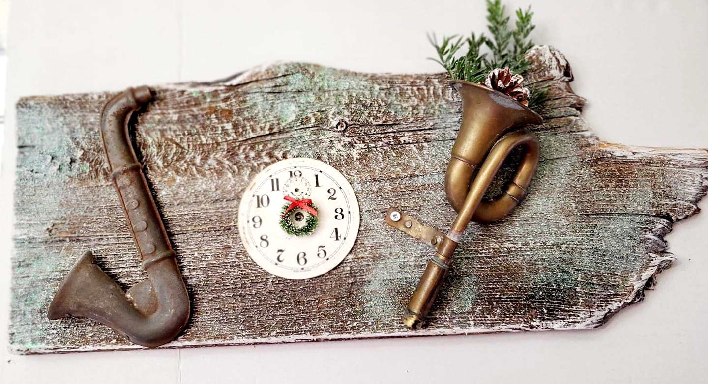 Joy Christmas junk sign Junky Encores, featured on DIY Salvaged Junk Projects 555 on Funky Junk!