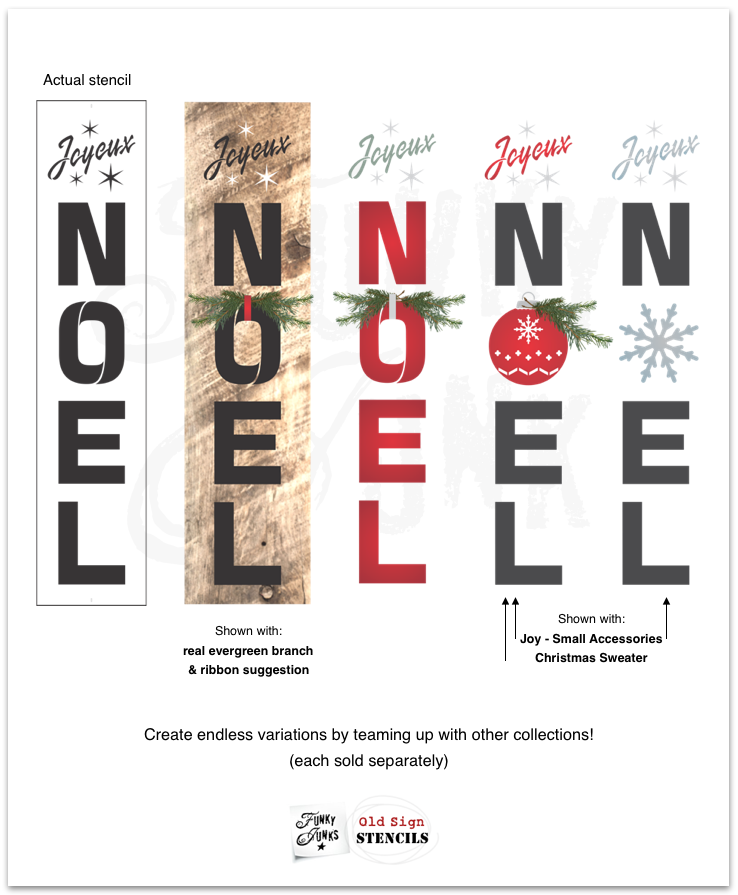 View Joyeux Noel Christmas stencil by Funky Junk's Old Sign Stencils for making Christmas signs with wood!