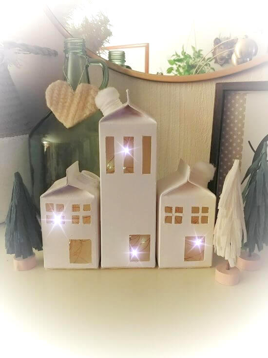 Milk crate carton Christmas village by Little Vintage Cottage, featured on DIY Salvaged Junk Projects 554 on Funky Junk!