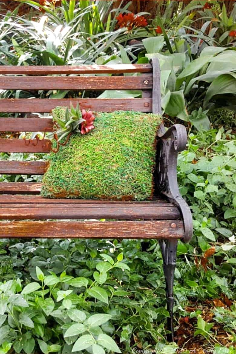 Moss and succulent outdoor pillow by A Crafty Mix, featured on DIY Salvaged Junk Projects 552 on Funky Junk!