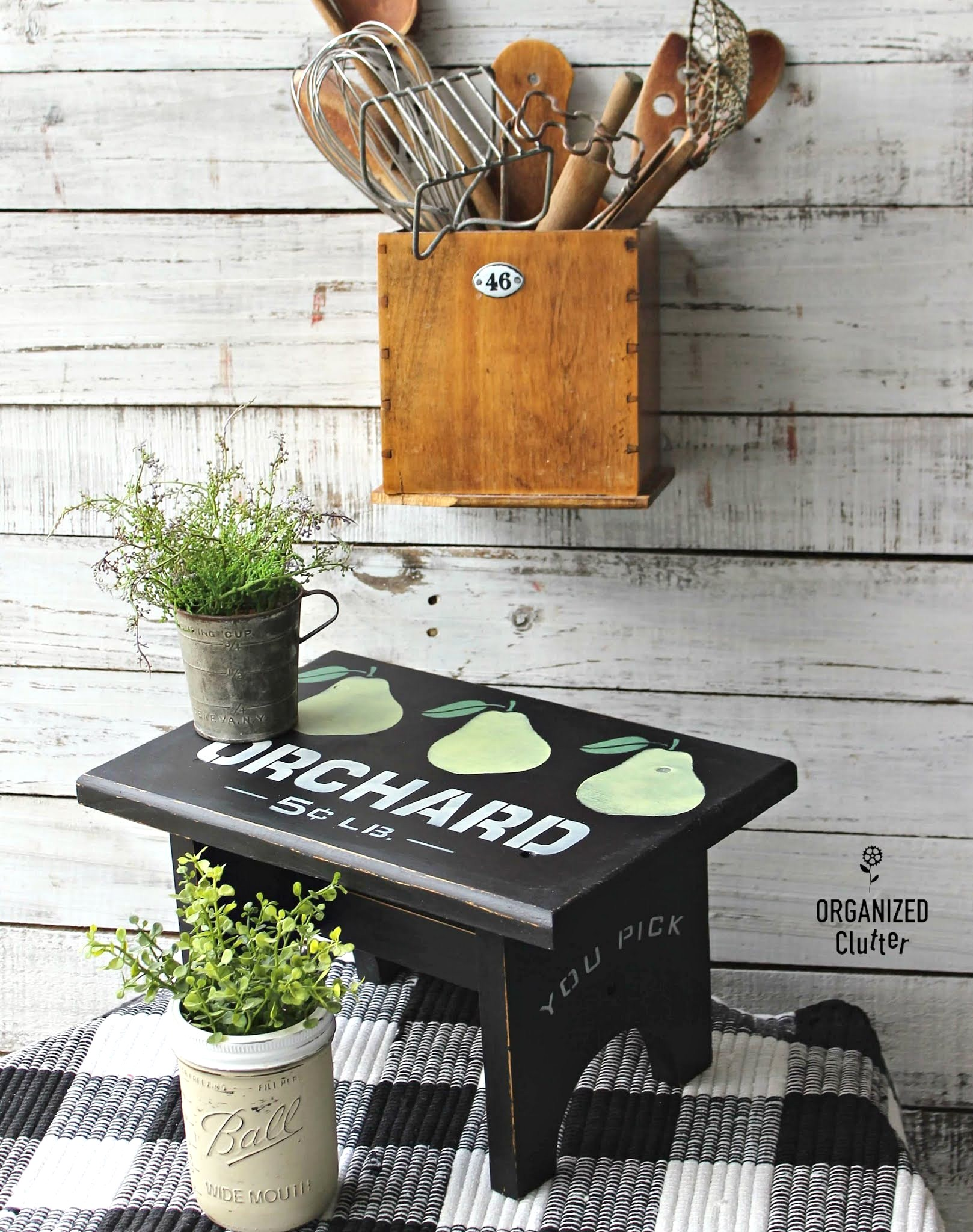 Pear Orchard stool by Organized Clutter, featured on DIY Salvaged Junk Projects 555 on Funky Junk!