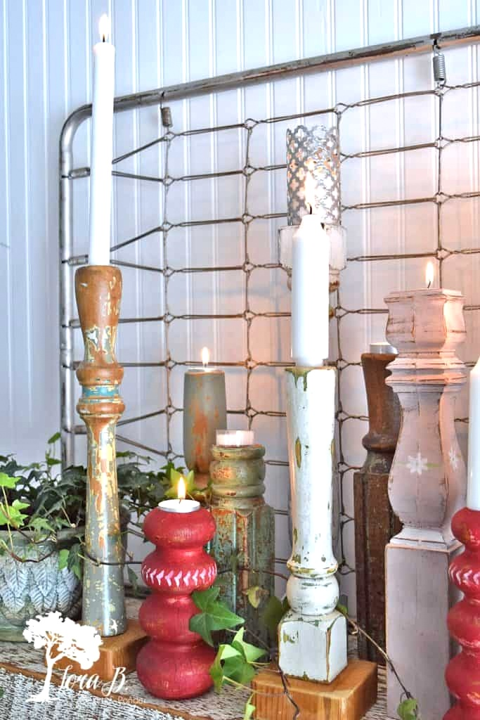 Repurposed table leg candlesticks by Lora B, featured on DIY Salvaged Junk Projects 554 on Funky Junk!