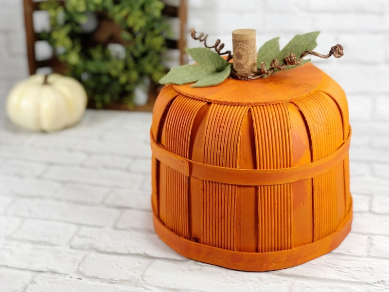 Pumpkin bushel basket by Creatively Beth, featured on DIY Salvaged Junk Projects 553 on Funky Junk!