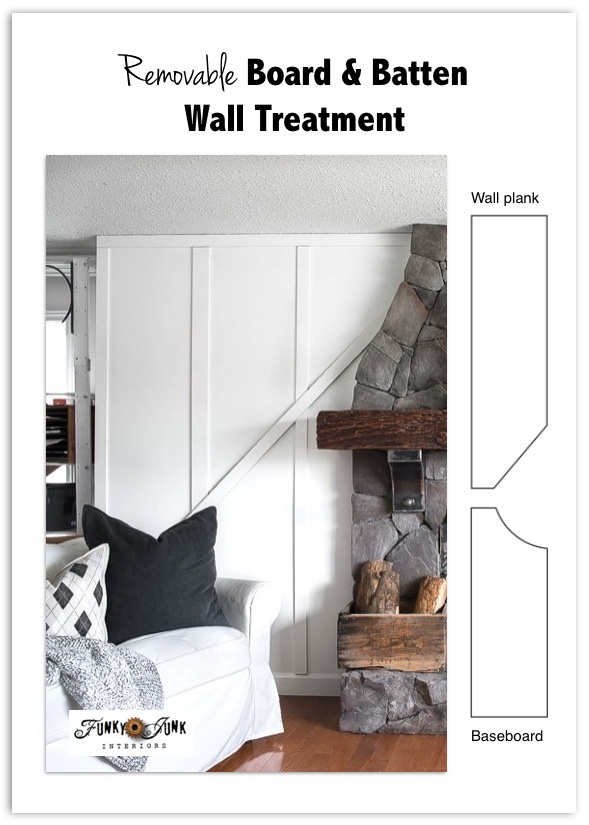 Learn how to add a cabin-cozy feel to plain white walls with this easy removable board and batten wall treatment! Made from mdf mouldings. Affordable and so cozy indeed! Click to read full tutorial and take the full room tour!