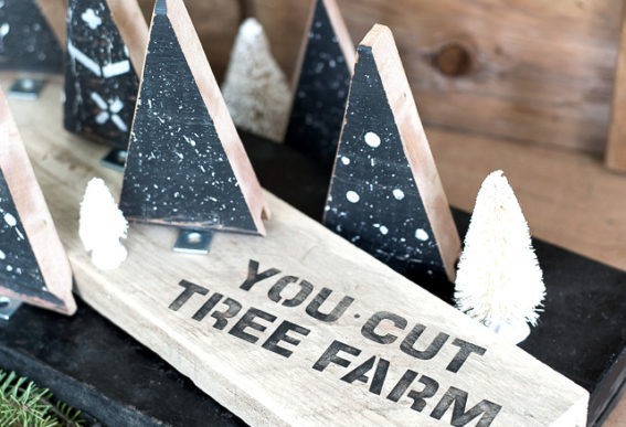 Scrap wood tree farm Christmas decor with stencils