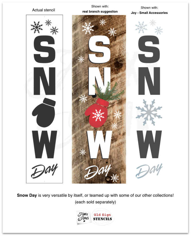 View Snow Day Christmas stencil by Funky Junk's Old Sign Stencils for making Christmas porch signs with wood!