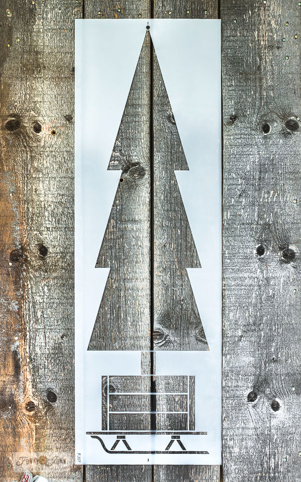 Tall Christmas Tree in Crate stencil by Funky Junk's Old Sign Stencils