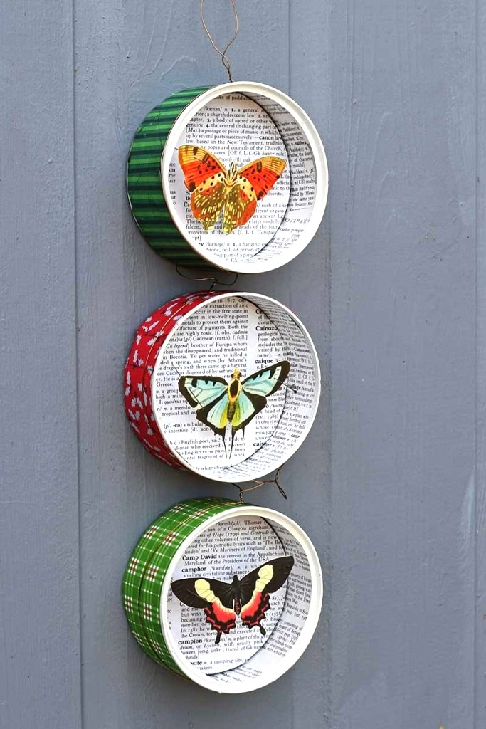 Tin can butterfly ornaments by Picture Box Blue, featured on DIY Salvaged Junk Projects 553 on Funky Junk!
