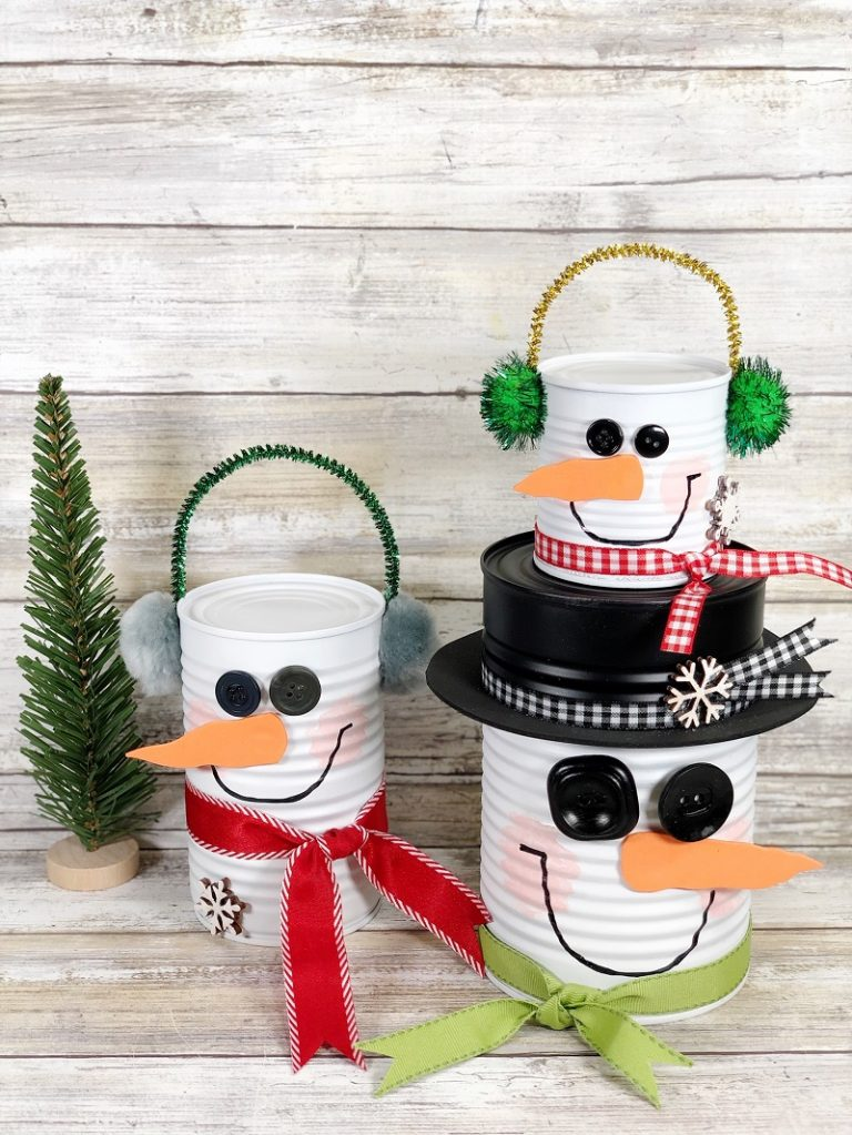 Tin can snowmen Creatively Beth, featured on DIY Salvaged Junk Projects 555 on Funky Junk!