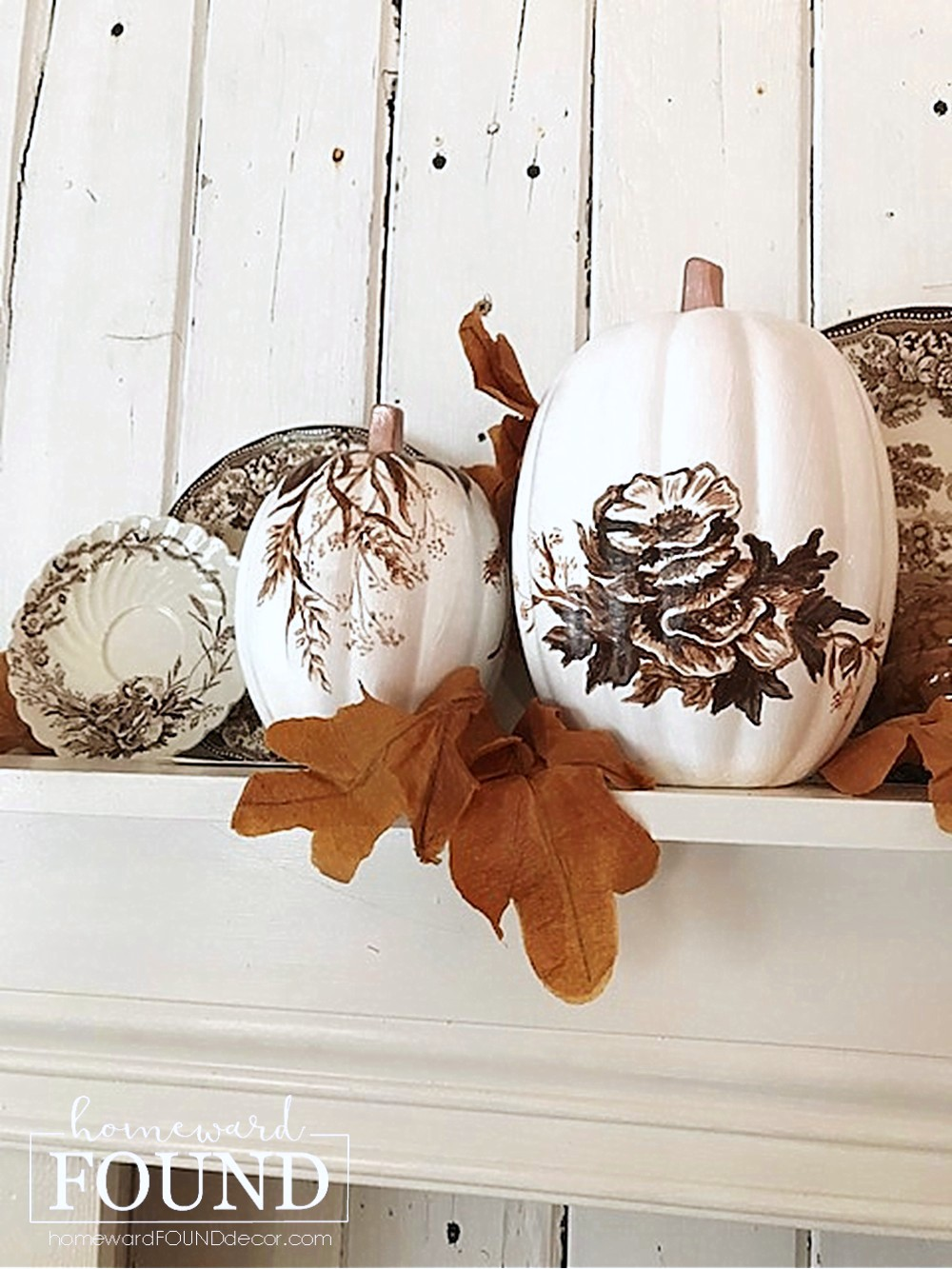 Hand painted toile floral pumpkins by Homeward Found, featured on DIY Salvaged Junk Projects 554 on Funky Junk!