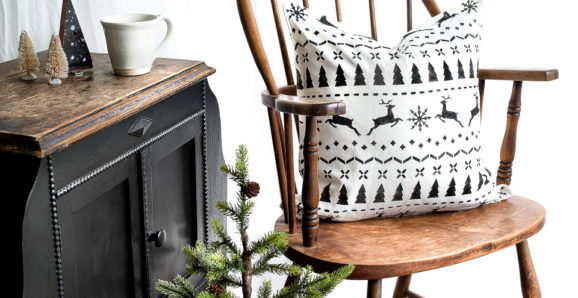 Black and White Christmas Pillows with stencils