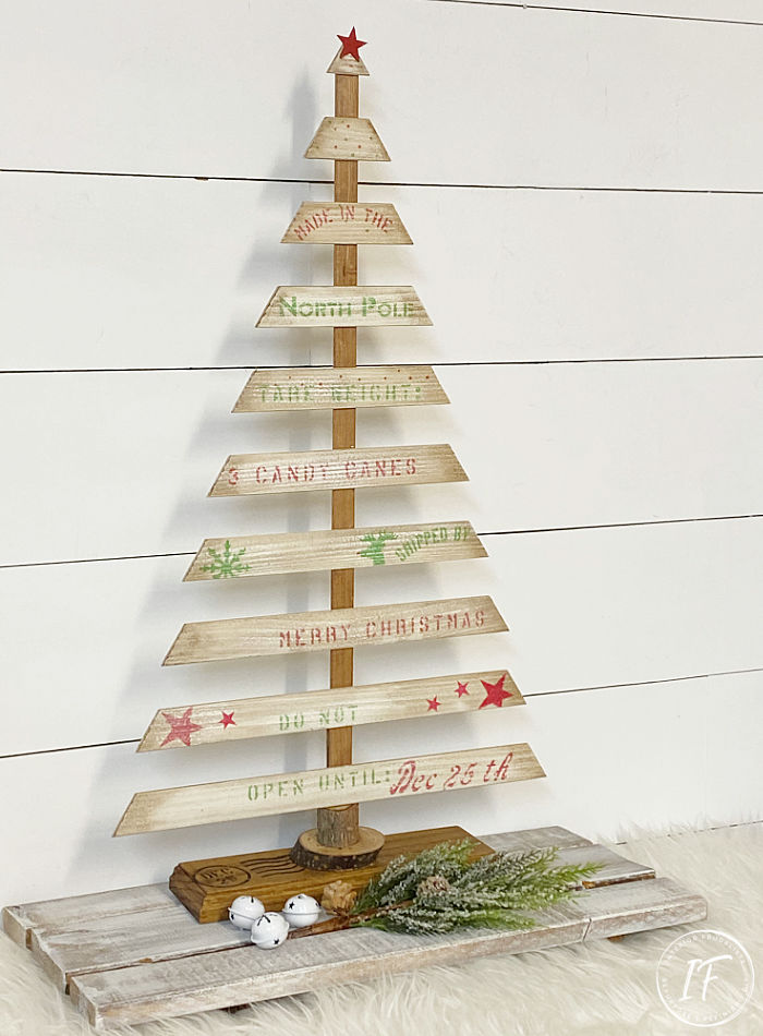 Wood slat Christmas tree by Interior Frugalista, featured on DIY Salvaged Junk Projects 554 on Funky Junk!