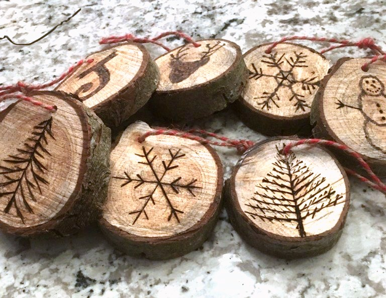 Wood slice Christmas ornaments by The House On Silverado, featured on DIY Salvaged Junk Projects 554 on Funky Junk!