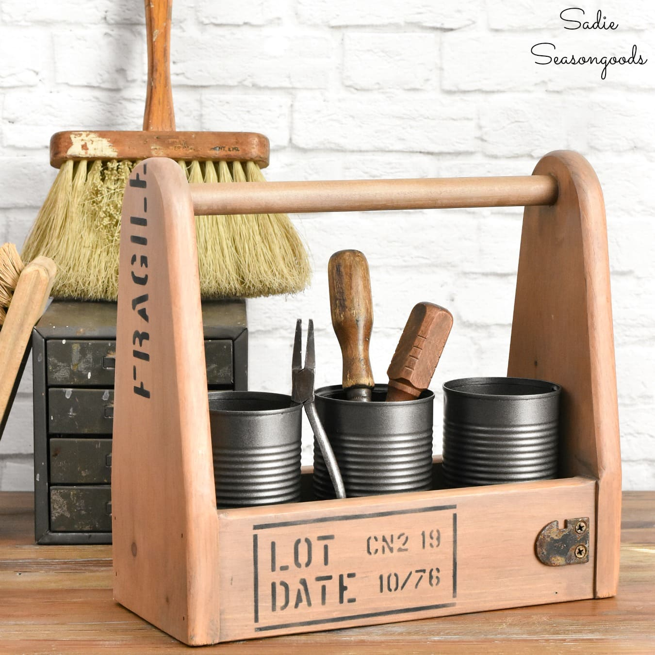 Industrial tool caddy by Sadie Seasongoods, featured on DIY Salvaged Junk Projects 554 on Funky Junk!