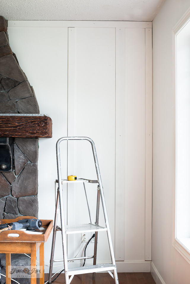 removable mdf board and batten wall in livingroomLearn how to add a cabin-cozy feel to plain white walls with this easy removable board and batten wall treatment! Made from mdf mouldings. Affordable and so cozy indeed! Click to read full tutorial and take the full room tour!