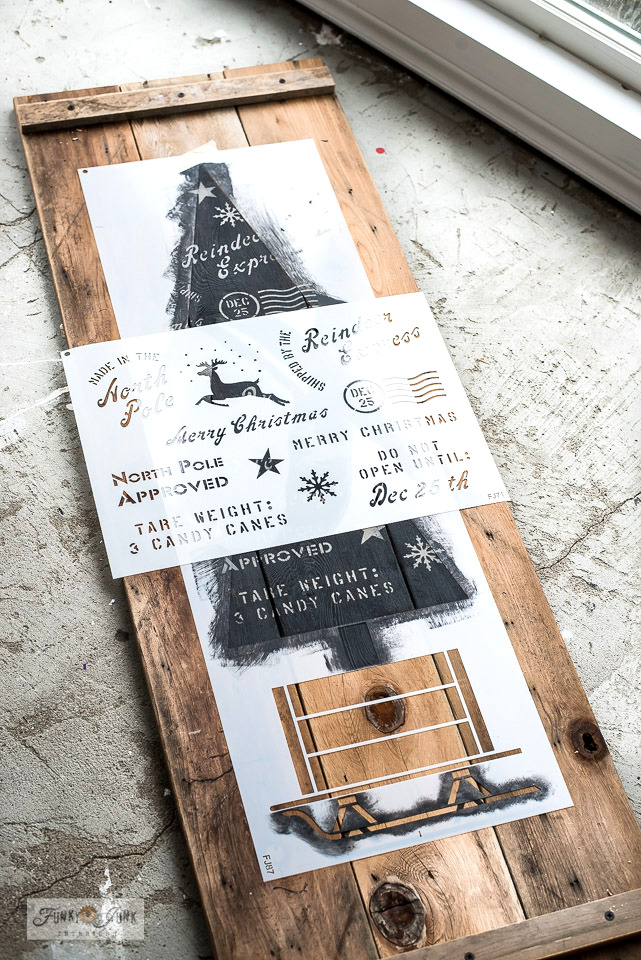 Learn how to DIY a rustic Christmas tree vertical sign with versatile Christmas stencils on wood from Funky Junk's Old Sign Stencils! Click to read full tutorial and watch helpful video!