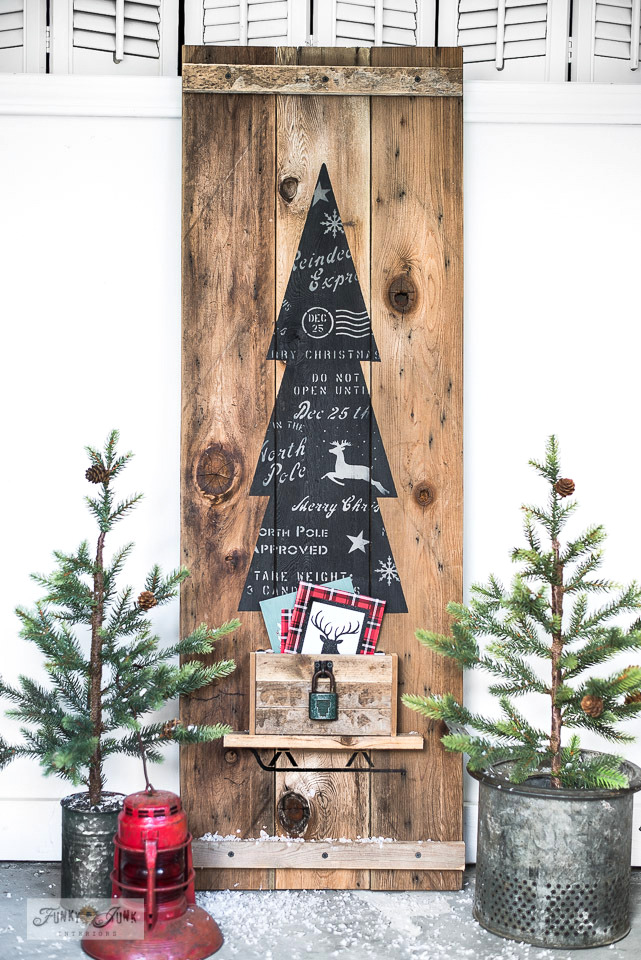 Learn how to DIY a rustic Christmas tree vertical sign that holds Christmas cards with versatile Christmas stencils on wood from Funky Junk's Old Sign Stencils! Click to read full tutorial and watch helpful video!