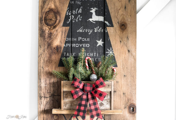 rustic Christmas tree vertical sign with stencils