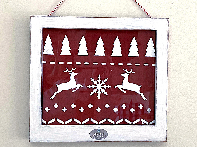 Window Christmas sweater wall art by Homeroad, featured on DIY Salvaged Junk Projects 555 on Funky Junk!