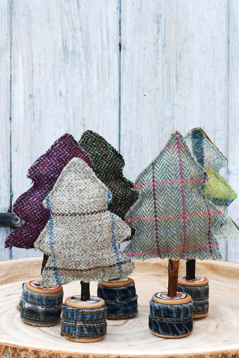 Tartan fabric Christmas trees by Pillar Box Blue, featured on DIY Salvaged Junk Projects 552 on Funky Junk!