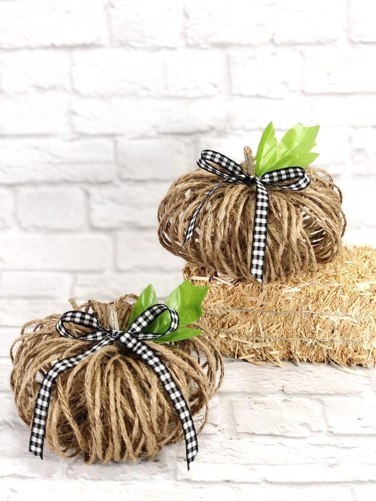 Twine fall pumpkins by Creatively Beth, featured on DIY Salvaged Junk Projects 552 on Funky Junk!