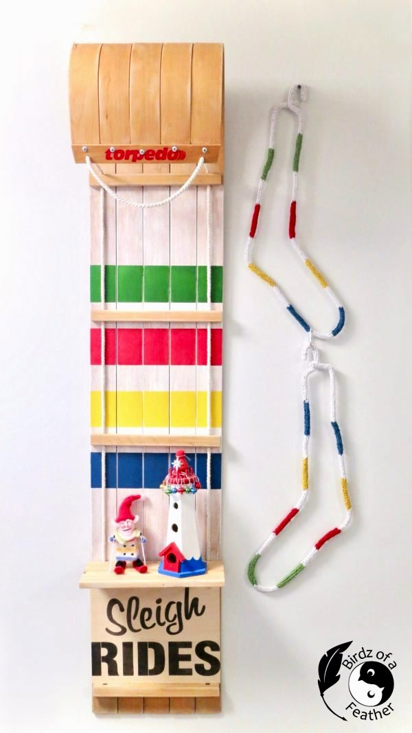 Hudson's Bay Sleigh Rides toboggan shelf by Birdz of a Feather, featured on DIY Salvaged Junk Projects 556 on Funky Junk!