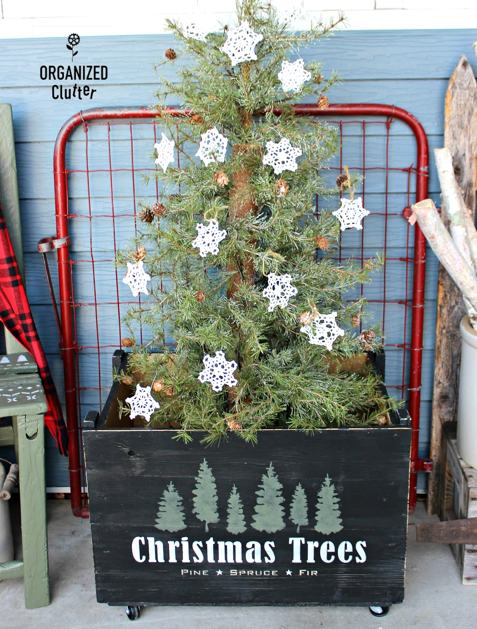 Christmas Trees crate skirt by Organized Clutter, featured in DIY Salvaged Junk Projects 557 on Funky Junk!