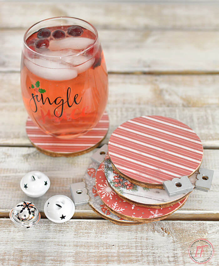 Christmas ornament coasters by Interior Frugalista, featured on DIY Salvaged Junk Projects 558 on Funky Junk!